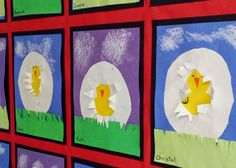 1st grade cut and glued construction paper to show spring chicks hatching from their eggs.