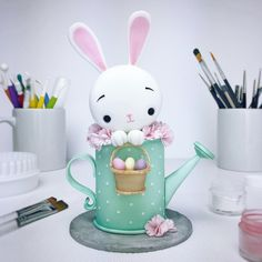 Cute Easter Bunny Cake Topper - fondant gum paste clay inspiration idea watering can rabbit kawaii Fondant Cake Toppers, Fondant Cupcakes, Birthday Cake Toppers, Easter Cake Fondant, Easter Cake Toppers, Fondant Bow, Easter Cupcakes, Fondant Flowers, Cake Birthday