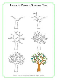 Easy tree drawings learn to draw a summer tree drawing practice drawing lessons drawing techniques drawing . Doodle Drawings, Cute Drawings, Doodle Art, Doodle Trees, Easy Drawings For Kids, Drawing For Kids, Summer Trees, Spring Tree, Arte Sketchbook