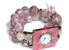 Shabby Chic Pink Beaded Watch  Interchangeable Watch by BeadsnTime