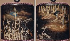 Case (Inrô) with Design of Trees, Crow, and Moon Period: Edo period (1615–1868) Date: 18th century Culture: Japan Medium: Takamaki-e with nashiji, gold and silver foil, and silver inlay on black lacquer; Interior: nashiji and fundame; Ojime: bead of inlaid metals and alloys; Netsuke: flowers, moon, and poem in gold lacquer on dark wood (signed: Designed by Hoitsu)