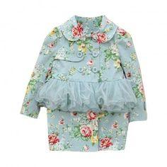 Evaline Blue Floral Trench Coat
