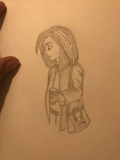 Girl with coffee sketch
