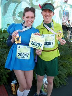 Ran the Tinker Bell Half Marathon two years in a row as Wendy Darling, along with Peter. #runcostume #rundisney #tinkerbellhalfmarathon