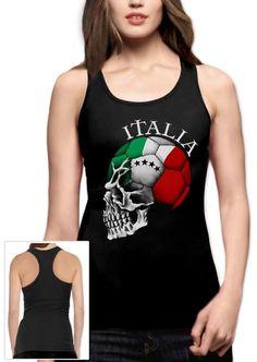 Italy World Cup Skull Racerback Tank Top Italia Football Nationalteam Soccer Fan