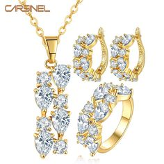 CARSINEL Brand High Quality Gold-color Flower Jewelry Sets with Clear Stone CZ Stone for Women Wedding Necklace + Earrings+Rings #Affiliate
