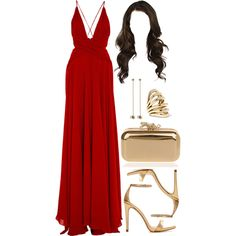 A fashion look from March 2017 featuring red evening gowns, high heels sandals and brown purse. Browse and shop related looks. Chic Outfits, Dress Outfits, Fashion Dresses, Dress Up, Evening Dresses, Prom Dresses, Formal Dresses, Elegant Dresses, Pretty Dresses