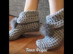 Вязаные носки,тапочки,гольфы. - YouTube