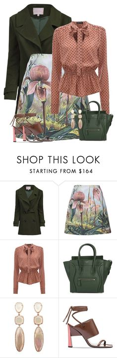 """""""Orchid Print & Polka Dots W/ Marni Sandals"""" by majezy ❤ liked on Polyvore featuring Jolie Moi, ADAM, CÉLINE and Marni"""