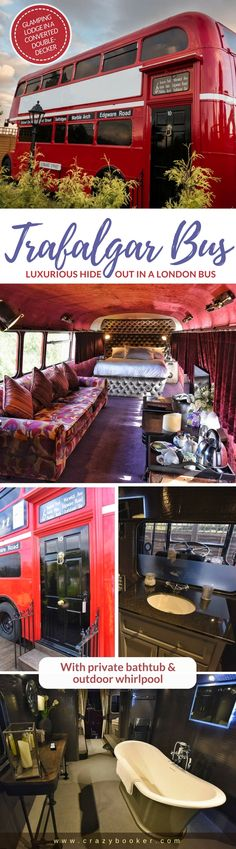 Trafalgar Bus Glamping Retreat in United Kingdom (County Durham) | The idea of transforming a retired city bus into a luxurious accommodation may not be one of the most original ideas, but this modified iconic London double-decker bus with private bathtub & outdoor whirlpool in the north-east of England exceeds all expectations and can rightly be called unusual | The entrance door of the cult vehicle looks like from the seat of government Downing Street 10  #travel #england #london #bus