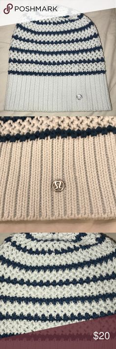 Lululemon beanie Lululemon light blue/navy striped beanie. Only worn a few times. Some slight make up on the inside as pictured above, but it is barely noticeable. Smoke free home! lululemon athletica Accessories Hats