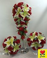 Silk Flower Red Roses/Yellow Lily Flowers Bridal Wedding Flower Bouquet Set