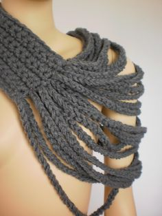Crochet Grey Loop Chain Scarf Cowl Scarf Neck by levintovich