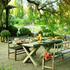 outdoor table and benches plans | Outdoor dining table & benches