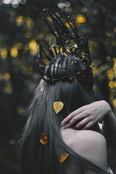 Crown by Agnieszka Osipa Tired ghost of golden autumn Crown Aesthetic, Fantasy Names, Halloween Photography, Golden Crown, Crown Headband, Fantasy Inspiration, Thrasher, Headpiece, Autumn