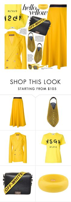 """""""Get Happy: Pops of Yellow (street style)"""" by beebeely-look ❤ liked on Polyvore featuring Paul Smith, TIBI, MSGM, Off-White, Dsquared2, Kate Spade, StreetStyle, NYFW, PopsOfYellow and spring2018"""