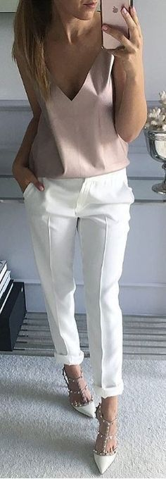 Soft pink top with white pants