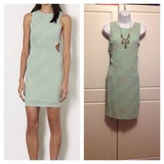 Topshop Mint and Grey Sparkly Cut Out Dress Exclusive lurex bodycon dress with cut outs on each side. Zips in back. 93% Nylon/4% Metal/3% Elastane. Machine washable. Excellent condition. Topshop Dresses