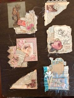 Embellishment ideas for cards – Scrapbooking Junk Journal, Journal Paper, Scrapbook Journal, Papel Vintage, Vintage Crafts, Paper Art, Paper Crafts, Shabby Chic Cards, Fabric Journals