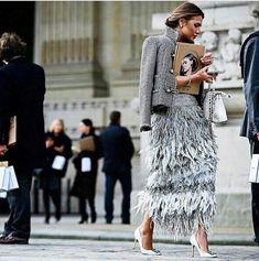 Feathered fringe skirt