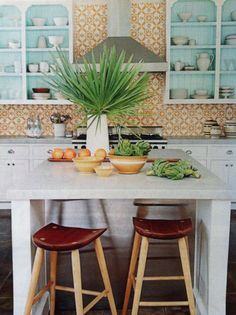 Cuban Tropical Tile Co featured in House Beautiful Feb 2014. Matthew Hranek photo. Design by Tom Scheerer.