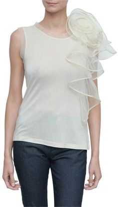 valentino-Couture T-shirt with Tulle Flower On Shoulder
