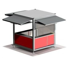 Commercial kiosk / steel / prefab / for public spaces - CUVE ® - ESTEVA Food Cart Design, Food Truck Design, Kiosk Design, Cafe Design, Design Design, Graphic Design, Deco Restaurant, Restaurant Design, Stand Design