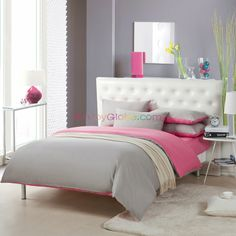 Gray and Pink Bedding Sets