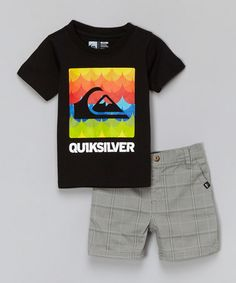 Another great find on #zulily! Black Logo Tee & Gray Shorts - Infant & Toddler by Quiksilver #zulilyfinds