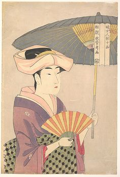 Woman with Parasol  Kitagawa Utamaro  (Japanese, 1753–1806)  Period: Edo period (1615–1868) Date: early 1790s Culture: Japan Medium: Polychrome woodblock print; ink and color on paper