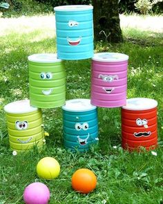tin can bowling--fun upcycle game for kids to play Games For Kids, Diy For Kids, Crafts For Kids, Backyard Games, Diy Toys, Outdoor Fun, Outdoor Games, Kids And Parenting, Kids Playing