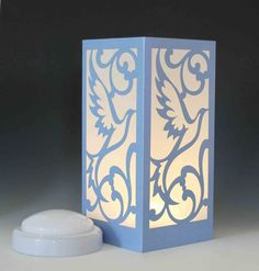 Dove Laser cut Luminary Table Piece Centerpiece - by StarrDesign on Etsy Light Decorations, Centerpieces, Luminary, Night Light, Wood Lamps, Lamp, Light, Diwali Lamps, Laser Lights
