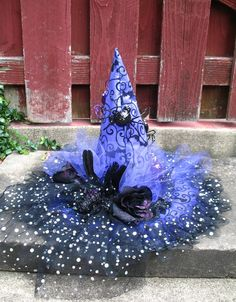Purple and Black Witches Hat with Glittery Spiders Bats Ribbon and Tulle Halloween Hat by English Rose Designs.