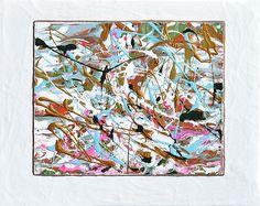 """Winter Joy"" abstract mixed media art painting by Donna ""Blacky"" Blackhall 11x14in $125.00"