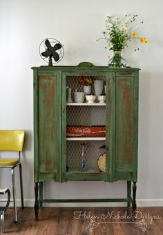 antique farmhouse hutch_boxwood MMS milk paint_helen nichole designs_