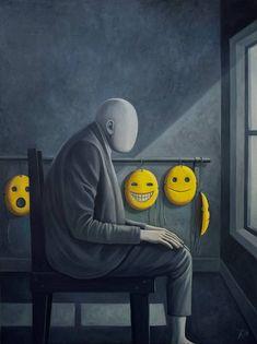 Original People Painting by Juliana Kolesova | Conceptual Art on Canvas | Masks