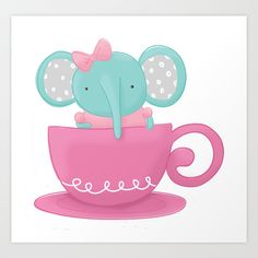 Elephant in a Tea Cup - Art Print by Pig & Pumpkin - Megan Downing