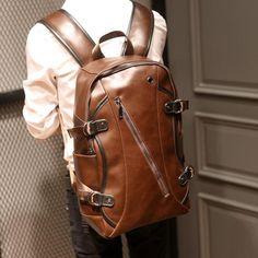 Men crazy horse Leather Travel Backpacks - wearGG Vintage Leather Backpack 7dabceb52a179