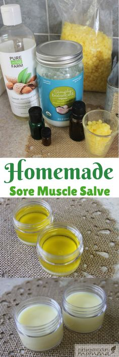 Looking for a natural sore muscle remedy? Check out this sore muscle rub with beeswax, coconut oil, and essential oils. This DIY salve also makes a great lotion to help release muscle tension and soothe sore muscles at the end of a long day. Whip up a batch today to have on hand for aches and pains or repin for later!