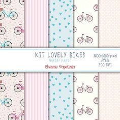 Kit papel digital - Lovely bikes #bikes #bicicletas #love #wedding #casamento