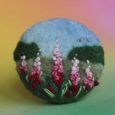 """Brož \""""Ostrožky\"""" Embroidery, embroidered button, coated, Brussels, romance, romance, ancient, button, meadow blossom, landscape, meadow, nature, landscape, monet, delphinium, felting end embroidery"""