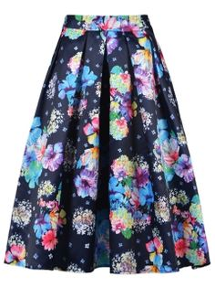 Shop Colorful Floral Navy Midi Skirt from choies.com .Free shipping Worldwide.$19.9