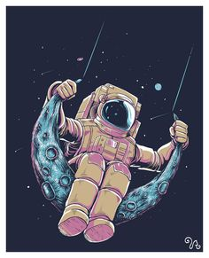 You can find him swinging on the moon. Inspired by a David Bowie song. 4 color t-shirt design. Software : Adobe Illustrator CS5