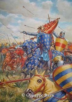Ya que se ha mentado Bouvines, una lámina mostrándonos a Felipe Augusto al frente de sus tropas... En esta ocasión no resulta necesario comentar que se trata de una obra del Maese Rava... Más en www.elgrancapitán.org/foro