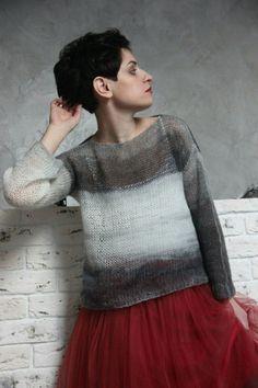 """Свитерок """"Mrs.Grey"""" ,#2 - свитер, мохеровый, вязаный свитер, серый, белый, мохер"""