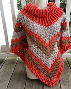 Hot Off The Hook by April Lashon Project: Cowl Neck Poncho Started: 07 Aug 2016 Completed: 12 Aug 2016  Hook(s): 7mm Cowl Portion, K, Granny Stitch portion Yarn: Redheart Super Saver Color(s) Coral, Oatmeal, Cafe Latte Pattern Source: Simply Crochet Magazine, Issue No. 25 (Hard Copy) Pattern Designed By: Simone Francis Notes: This is my 86th Cowl-Neck Poncho!