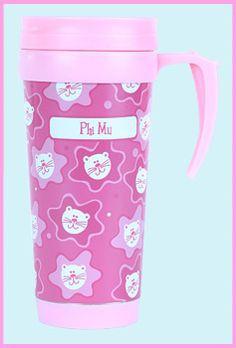 Phi Mu Sorority Travel Mug $11.99