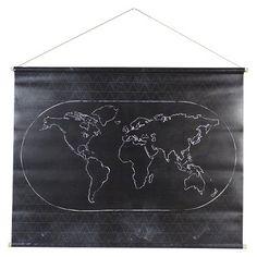 Black World Map Canvas Wall Art