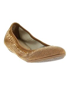 Look at this Tan & Gold Studded Chaste Suede Flat on #zulily today!