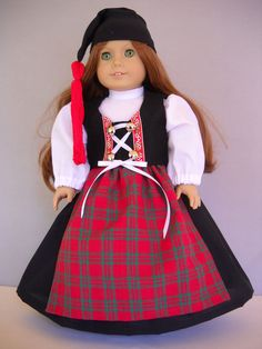 "Fits 18"" American Girl doll Iceland Icelandic folk dress clothes C (COSTUME ONLY"